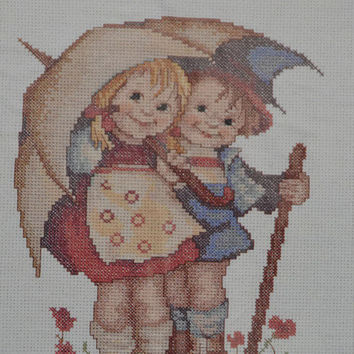 Free Us Shipping, Vintage Cross Stitch Kit, Needle Treasures, M. I. Hummel, Sunny Weather, 8x10, Needlework Boy Girl Couple Pattern Tutorial