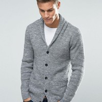Abercrombie & Fitch Shawl Cardigan Heavy Rib Knit in Grey at asos.com