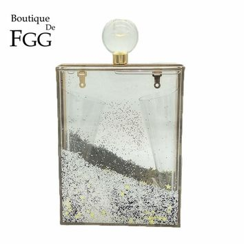 Liqick Sequin Women Fashion Clear Transparent Acrylic Perfume Bottle Evening Party Bag Box Clutch Casual Shoulder Handbag Purse