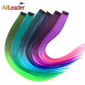"Alileader Straight Synthetic Hair Clip In Hair Extensions 1 Clip 20"" 50Cm Ombre Burgundy Brown Blond Color Women's Hairpieces"