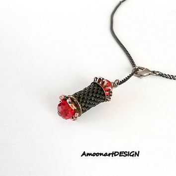 Small Lariat Necklace, Vintage Style Pendant, Beaded Dainty Jewelry, Peyote Tube Necklace With Red Crystals, Free Shipping ( N-9 )
