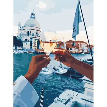 DIY PBN Painting Romantic People Pictures By Numbers On Canvas Framed Wall Pictures Art For Living Room Home Decoration Y5096