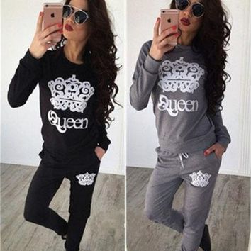 Fashion Women's Two Pices Casual Sport Tops Sweatshirt Track Pants Sweat Suits Tracksuit [9221949188]