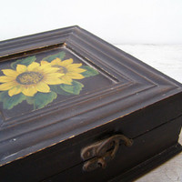Sunflower Brown Wooden Big Treasure Box, Vintage Folk Square Storage Wood Box, Shabby Cottage Photo Desk Organizer, Rustic Decor Woman Gift