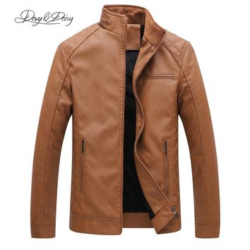 Trendy DAVYDAISY 2018 Hot Sale PU Leather Jacket Men Autumn Winter Stand Collar Zipper Casual Dress Leather Coat Plus Size 6XL DCT-134 AT_94_13