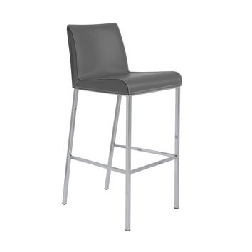 Cam-B Bar Stool In Gray With Polished Stainless Steel Legs - Set Of 2