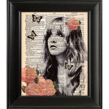 Stevie Nicks GYPSY Fleetwood Mac ORIGINAL Dictionary Art Print HandPainted Mixed Media Illustration on Antique 1930's English Book Page 8x10