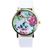 Women Girl Geneva Leather Rose Flower Watch Quartz Watches (Color: White) = 5987849409