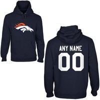 Denver Broncos Mens Custom Any Name & Number Hooded Sweatshirt