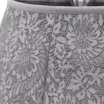 Gray High Waist Overlay Lace Skirt