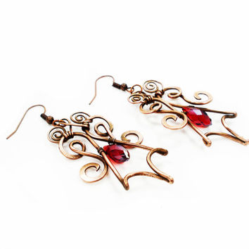 Chandelier Red Dangle Drop Statement Earrings, Handmade Copper Wire Wrap Unique Earrings, Stylish Elegant Ruby Red Earrings, Gift For Her