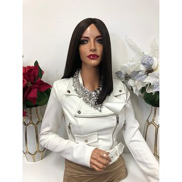 """Brown Sleek Middle Part Short Hair Lace Front Wig 8"""" 1218 Angela"""