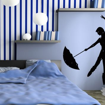 Decal Vinyl Wall Stickers Rain Dance Umbrella Girl Romantic Bedroom  Unique Gift z1094