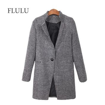 FLULU 2018 Autumn Winter Women's Coat Fashion Casual Coat Female Elegant Jackets Long Sleeve Blazer Outwear Tops Plus Size 7XL
