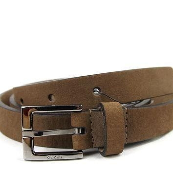 Gucci Men's Brown Suede Square Metal Buckle Belt 334503 2814