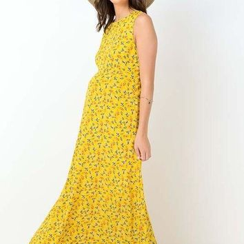 Floral Print Sleeveless Maternity Maxi Dress