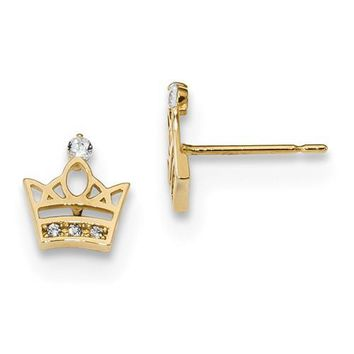 14k Yellow Gold Solid Madi K Youth CZ Crown Post Earrings