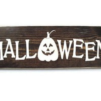 Halloween Sign Rustic Wood Wall Art Home Decor Door Hanger (#1202)