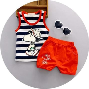 2016 Summer New 1 2 3 years old baby boys suit striped cotton o-neck with chracter printed fashion boys clothes set A092
