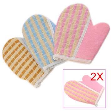 2017 2pcs New Lovely Shower Scrubber Back Scrub Exfoliating Body Massage Sponge Bath Gloves Sale