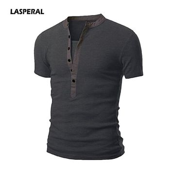 LASPERAL Men Homme Fashion Short Sleeve Henley Slim Fit Shirt