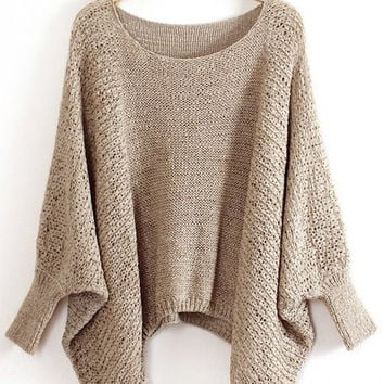 Tan Dolman Sleeve Sweater