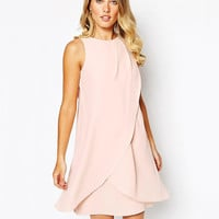Light Pink Asymmetrical Layered Dress with Bow Tie Back