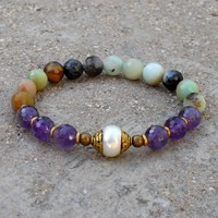 Amethyst, Multitone Amazonite, and Capped Pearl Mala Bracelet
