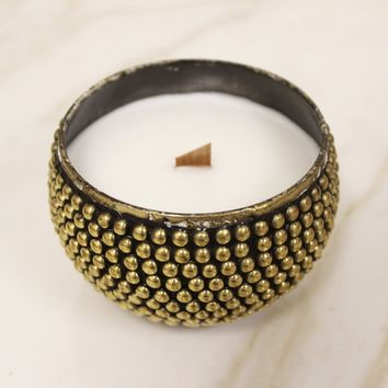 Gold Beaded Moroccan Candle