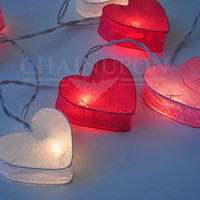 LOVE PINK HEART LANTERN STRING PATIO,DECORATE,BEDROOM,LIVING ROOM,WEDDING LIGHTS