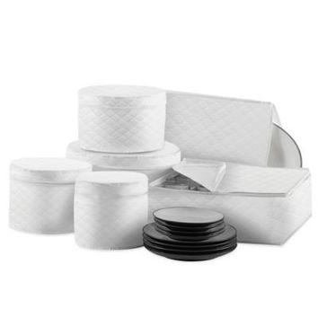Quilted 6-Piece Dinnerware and Serveware Case Protector Set in White