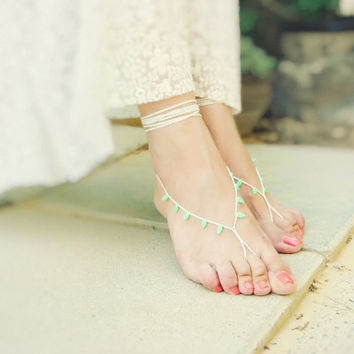 Mint cream bridal crochet barefoot sandals. Beach wedding