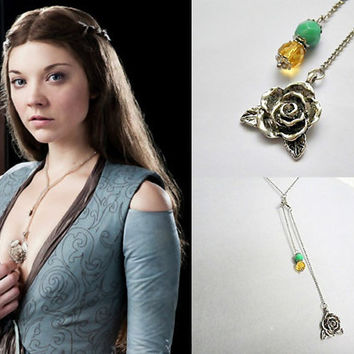 Game of Thrones: Margaery Tyrell antique silver rose Y drop pendant necklace