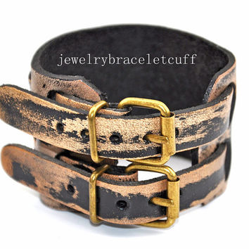 jewelry double buckle bracelet leather by jewelrybraceletcuff