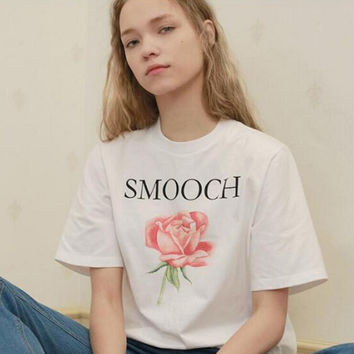 """""""SMOOCH"""" letters one rose print white T-shirt tee top"""