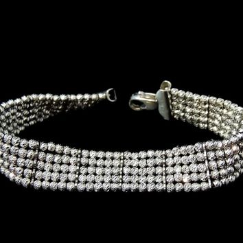 Glittering Faceted Silver Beads Bracelet Italy The look of Diamonds - Sterling 925