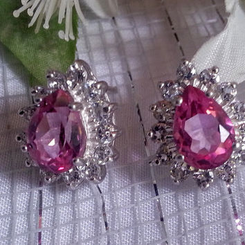 October Birthstone Large Pink Topaz CZ Stud Earrings Sterlings Silver