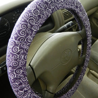 Purple Scroll Steering Wheel Cover