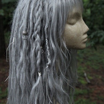 READY TO SHIP! Silver Synthetic Dreadlock Wig * Fairy * Faerie * Dread Beads * Dreadlock Wraps  * Tribal * Shaman * Witch * Pastel Goth *