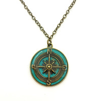 Compass necklace / compass jewelry / travel jewelry / nature necklace / teal jewelry / compass pendant