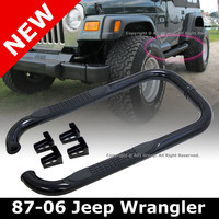 Jeep Wrangler TJ YJ 87-06 2 Door 3 Inch Black Running Board Side Steps Nerf Bars