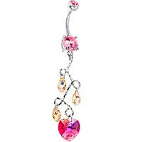 Handcrafted Austrian Crystal Fuchsia Vine Drop Heart Belly Ring | Body Candy Body Jewelry