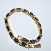 Simulated Sapphire Blue Diamond Tennis Line Bracelet Gold
