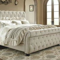 White Linen Color Queen Size Bed Frame For Bedroom Signature Design Home