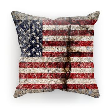 Rustic Cracked Concrete American Flag Cushion