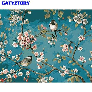 GATYZTORY Frameless Birds Flower DIY Painting By Numbers Calligraphy Painting Modern Wall Art Picture Home Wall Decor Artwork