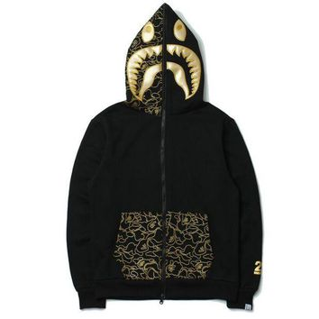 DCCK8H2 BAPE SHARK Autumn and winter tide brand camouflage Star Shark couple sweater men and women zipper hooded coat