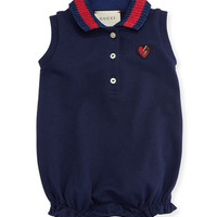Gucci Sleeveless Stretch Pique Playsuit, Navy, Size 3-18 Months