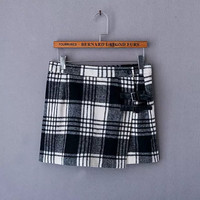 Plaid Pattern Woolen Straight Skirts