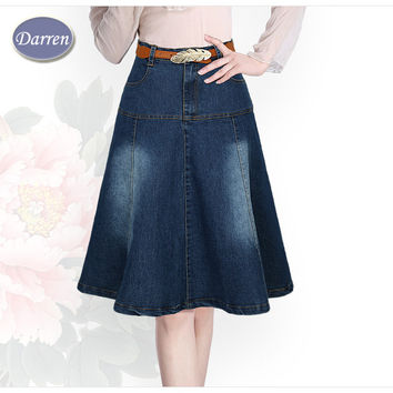 New Arrival Plus Size XS to 7XL Pockets Jeans Pleated Skirts Women Fashion A-line High Waist Knee-Length Denim Skirts for Girls